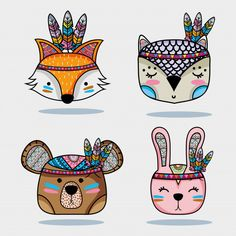 set cute animal tribal in the forest Vector. Choose from thousands of free vectors, clip art designs, icons, and illustrations created by artists worldwide! Cute Animal Drawings, Animal Sketches, Cute Drawings, Tribal Animals, Cute Animals, Cartoon Styles, Cute Cartoon, Animal Head Masks, Native American Patterns