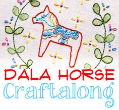Dala Horse Craftalong LARGE button - please download to your own computer