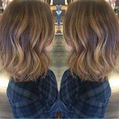 Warm Ashy Neutral Blonde balayage Ombre Highlights on Long brown brunette hair. Dallas Roberts Salon, West Jordan, Utah. Hair Salon.