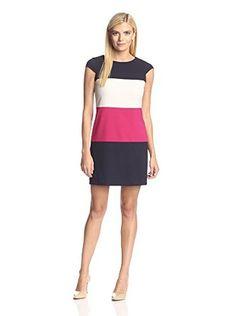 Marc New York Women's Cap Sleeve Stripe Sheath Dress (Berry)