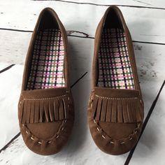 0d66417944 Lands' End Shoes | Lands End Brown Suede Fringe Flat. Size 8.5 | Color