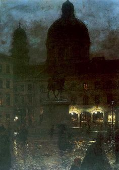 Wittelsbach Square in Munich at Night - Aleksander Gierymski, 1890 Polish Oil on canvas, 67 x 52 cm. Classic Paintings, Old Paintings, Beautiful Paintings, Moonlight Painting, City Painting, Nocturne, Classical Art, Art For Art Sake, City Art
