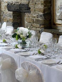 Sarah & Matt Wedding Flowers. Snowball, Shamrock Chrysanthemums, Avalanche Roses, Hydrangeas and White Lisianthus