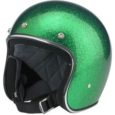 Biltwell Bonanza Helmet DOT Approved - Gang Green MF  This leaner, lighter and more comfortable DOT 3/4 lid boasts hand-painted finishes like our other lids. The interior boasts a custom-shaped EPS safety shell and a hand-stitched liner with moisture wicking brushed Lycra panels and open-cell foam padding for breathability and comfort. The rugged nylon neck strap features plated steel D-rings and a snap strap end retainer with Biltwell anvil branding. Available in six sizes, XS-XXL $119.95