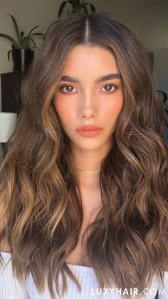 Chestnut Brown Luxy Hair Extensions - All For Hair Color Trending Brown Hair Shades, Brown Hair With Blonde Highlights, Brown Hair Balayage, Hair Color Balayage, Light Brown Highlights, Bronde Hair, Brown Highlighted Hair, Chestnut Highlights, Brown Hair With Lowlights
