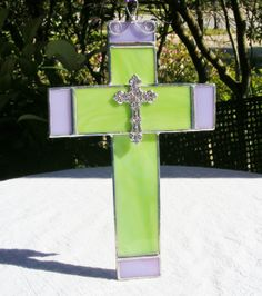NEW Spring Green and Lavender 8 x 5 Cross with by MoreThanColors, $35.00