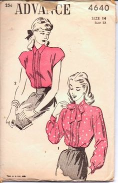 1950's Stylish Blouse with Tie Collar Advance 4640 Vintage Sewing Pattern Unprinted Cap Sleeves