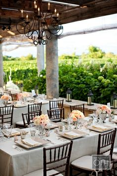 Peach and black table setting