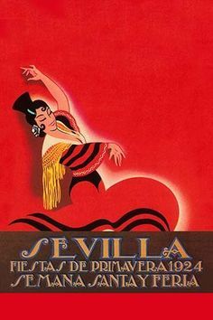 A modern poster of a Spanish dancer used as the advertisement for a festival in Sevilla, Spain. 1924