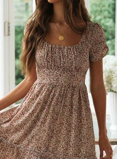 Round Neck Ruched Detail Floral Midi Dress CindyMod - Casual Dresses - Ideas of Casual Dresses Modest Dresses, Elegant Dresses, Casual Dresses For Women, Pretty Dresses, Sexy Dresses, Midi Dresses, Beautiful Dresses, Spring Dresses Casual, Casual Skirts