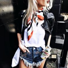 Today's look with my favorite company Remix by barbara_ines Spring Summer Fashion, Spring Outfits, Simple Outfits, Casual Outfits, Leather Skirt, Leather Jacket, Outfit Posts, Denim Shorts, Street Style