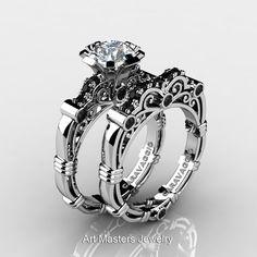 Art Masters Caravaggio 10K White Gold 1.0 Ct White Sapphire Black Diamond Engagement Ring Wedding Band Set R623S-10KWGBDWS-1
