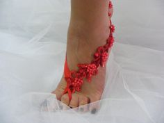 Red Lace Barefoot Beaded Sandals Beach Wedding Sandals by CeAndBo