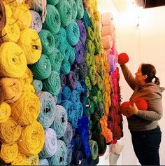 Pegged Yarn Wall at Knits for Life