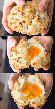 Moist fluffy cheddar chive biscuits with a soft boiled egg inside.