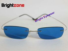 26.09$  Buy here - http://aipka.worlditems.win/all/product.php?id=32790419626 - ^6^ [Bright Eyewear] Rimless Memory Titanium Blue Color Tinted Prescription Sunglasses for Myopia & Presbyopia Free Shipping