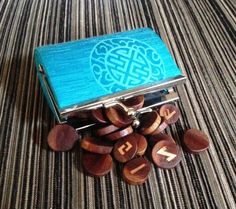 Travel Rune Set.  Wooden Runes. Rhodesian Teak and by ilarian