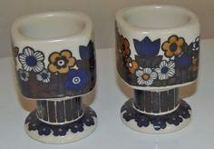 1980 ARABIA FINLAND KALEVALA ANNUAL EGG  CUPS ~ SET OF 2 ~ RAIJA UOSIKKINEN  #ARABIA Egg Cups, Cupping Set, Bronze Sculpture, Teacups, Finland, Sculptures, Eggs, Tableware, Artwork