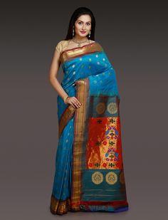 Kiran Sky Blue Paithani Silk Saree