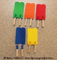 Color Matching Popsicles - paint just the pinching part of clothespins, and cut out the popsicles FREE template