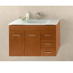 Buy the Ronbow Cinnamon Direct. Shop for the Ronbow Cinnamon Bella Hardwood Wall Mounted Vanity Cabinet Only with Left Hand Doors and save. 36 Vanity, Master Bath Vanity, Bathroom Vanity Base, Wall Mounted Vanity, Vanity Cabinet, Cabinet Hardware, Floating Cabinets, Base Cabinets, Bathroom Collections