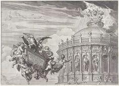 Paulus Pontius | Promotieprent van Claudius von Collalto (1645), bovenste deel, Paulus Pontius, Abraham van Diepenbeeck, Claudius von Collalto, 1645 | Tempel met standbeelden van aartshertogen van Oostenrijk, tevens keizers van het Heilige Roomse Rijk. Aan de rechterzijde zijn engelen de lege nissen aan het bewerken. Vanuit de hemel dalen engelen neer om een keizerskroon op de koepel te plaatsen. Links vliegen engelen in de lucht, ze dragen een ornament met zich mee waarop een opdracht aan…