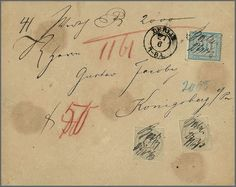 """German Empire 10 Gr. gray per two together with 30 Gr. blue on sealed insured cover from Berlin, 27. 6. 1873, to Königsberg. A 10 Gr. two short teeth, otherwise faultless and completly originally condition. As correctly franked 50-Groschen-Frankatur only with the both top values """"scarce and high-value franking"""", as well as the new certificate Krug emphasizes  Dealer Rauhut & Kruschel Stamp auction  Auction Minimum Bid: 1500.00EUR"""
