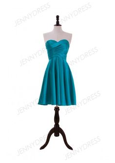 Jade Satin Satin Knee Length Bridesmaid Dress With Ruched Bodice