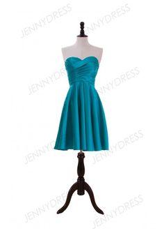 Jade Satin Satin Knee Length Bridesmaid Dress With Ruched Bodice