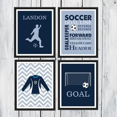 Soccer Wall Art  4 Piece Set  Goal   Soccer by TheEducatedOwl, $20.00