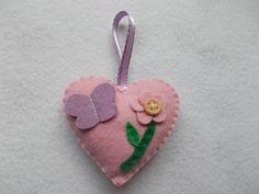 flower butterfly felt heart