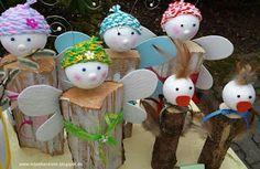 Kita - Ideenkiste! Nicht nur für ErzieherInnen!: Frühlingsfiguren aus Holzscheite