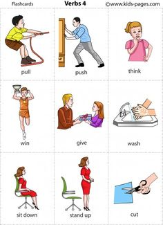 Kids Pages - Verbs 4 - multiple available! Learning English For Kids, English Lessons For Kids, Kids English, English Tips, Learn English Words, English Language Learning, Teaching English, English Study, English Verbs