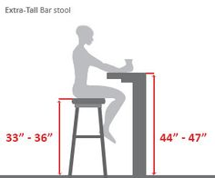 Extra Tall Bar Height Bar Stool Diagram