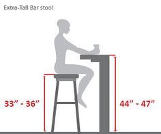 Extra Tall Bar Height Bar Stool Diagram