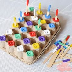 Heres a little DIY Colour Matching activity I made today using a cardboard egg carton Paint paddle pop sticks Perfect for Colour Recognition Fine Motor Skills acraftylivingtoddler