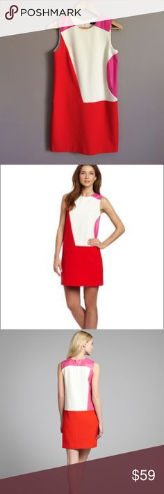 """Color block Rory shift dress. Leather accents Ivory, papaya(reddish orange), hot pink color block sleeveless dress. Pink is faux leather. Back zip. Fully lined. No defects.  Stretch crepe material. Potential Ky Derby dress. Dry clean.  17"""" armpit to armpit 32"""" length from neck 17 """" across midsection Cynthia Steffe Dresses"""