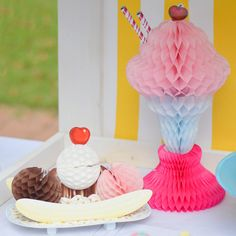 """This adorable Ice Cream Sundae Honeycomb will be an eye catching decoration for your next ice cream party or any other summer party.  Height: 14"""" Tall Sold i"""