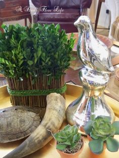 A Stroll Thru Life: After Christmas Decor - use a tray to display thrift store finds on the coffee table