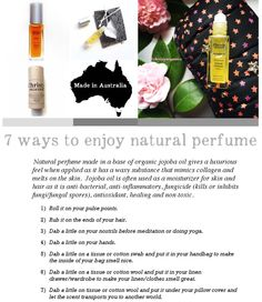 7 ways to enjoy #naturalperfume: 1) Roll it on your pulse points.  The base oil is #organic jojoba which has a waxy substance that mimics collagen. When applied it gives a luxurious feel and melts on the skin.  #JojobaOil (#organic) is often used as a moisturizer for skin and hair as it is anti-bacterial, anti-inflammatory, fungicide(kills or inhibit fungi or fungal spores), #antioxidant, #healing and #nontoxic.  2) Rub it on the ends of your hair  3) Dab a little on your nostrils…