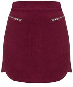 TopShop Womens **Cord Mini Skirt by Goldie - Maroon