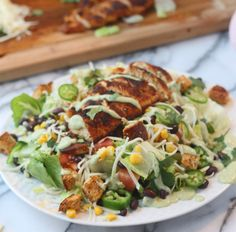 Southwest Chicken Salad with Healthy Avocado Buttermilk Dressing