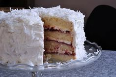 Raspberry-Filled Cake With Coconut-Vanilla Icing