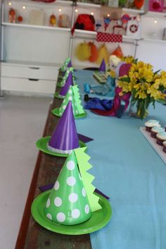 Dinosaur Birthday Party hats! See more party planning ideas at CatchMyParty.com!