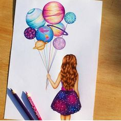 art, drawing, and planet image tattoo girl drawing Image in Art collection by Shan on We Heart It Amazing Drawings, Beautiful Drawings, Pretty Drawings, Art Drawings Sketches, Cute Drawings Tumblr, Girly Drawings, Cool Art Drawings, Colorful Drawings, Cool Artwork