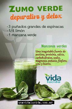 Verde y Natural: Zumo verde detox y depurativo - Green juice: detox Healthy Juices, Healthy Smoothies, Healthy Drinks, Detox Juices, Green Smoothies, Healthy Detox, Healthy Food, Detox Diet Drinks, Detox Juice Recipes