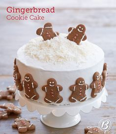 You'll love this playful winter wonderland cake decorated with gingerbread cookies and spiced with ginger. Save time by baking and decorating your gingerbread cookies the day before (or using leftovers from your cookie tray!).
