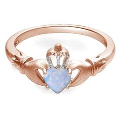 Kay - Lab-Created Opal Heart Claddagh Ring Rose Gold