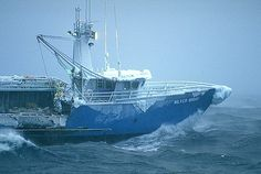 Crabbing boat in the Bering Sea. The most dangerous job in the world.