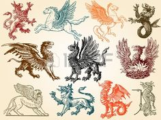 Illustration of Mythical animals vector art, clipart and stock vectors. Art Clipart, Fantasy Creatures, Mythical Creatures, Flash Art, Ornaments Design, Animal Posters, Coat Of Arms, Les Oeuvres, Art Drawings